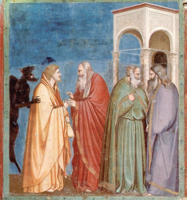 """""""A traição de Judas"""". Pintura de Giotto (1302-1305) na Capela Scrovegni (Pádua – Itália). Na cena, Judas Iscariotes negocia com os sacerdotes do templo a entrega de Jesus por 30 moedas — que o traidor segura na mão esquerda, enquanto a fumaça de Satanás (como um vulto negro) o inspira a entregar nosso Divino Redentor."""