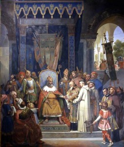 Carlos Magno recebe Alcuino, por Victor Schnetz