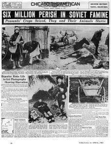 Em 1932, o ditador comunista Josef Stalin invadiu a Ucrânia, arrasando com o país e provocando uma fome generalizada. Calcula-se que sete milhões de ucranianos foram então massacrados pelos russos por meio do sangue, do fogo e da fome.