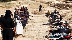 Guerrilheiros islamitas executando pessoas indefesas