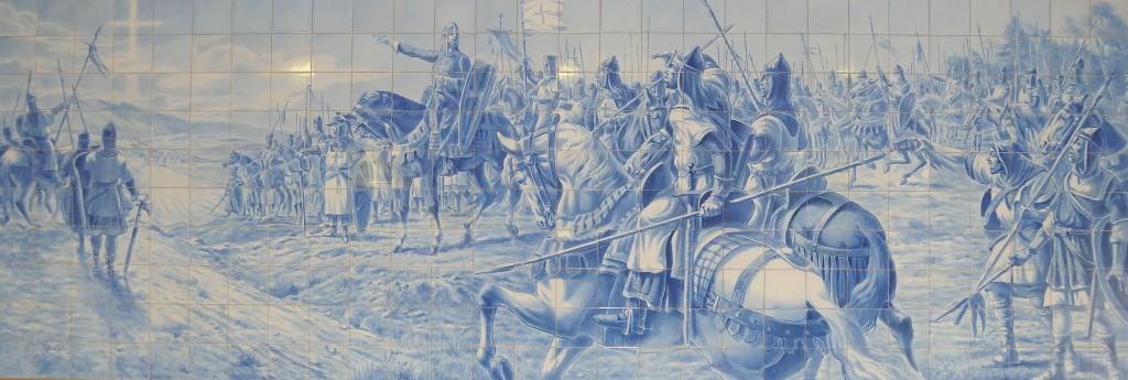 Azulejos, representação da Batalha de Ourique, comandada por Dom Afonso Henriques