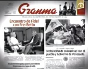 """O jornal comunista """"Granma"""", de 17-2-2014, publica como manchete o encontre de Frei Betto com Fidel Castro"""