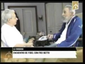 Frei Betto com o sanguinário ditador cubano Fidel Castro, hoje decrépto