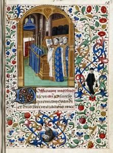 Iluminura medieval representando um funeral numa Igreja