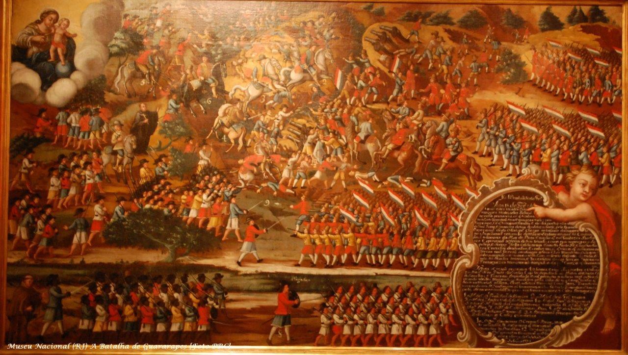 A Batalha de Guararapes. Com a insurreição pernambucana os invasores holandeses foram expulsos do Brasil