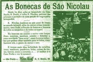 """Propaganda de brinquedos de Natal da """"Casa Fuchs"""""""