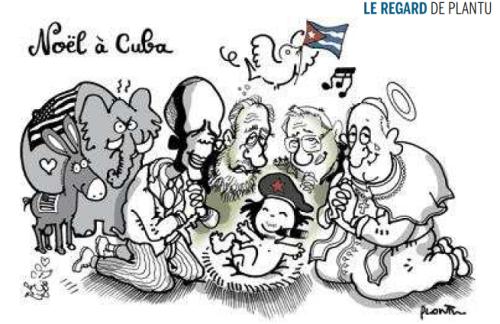 """Charge irreverente no jornal francês """"Le Monde"""" sobre o reatamento das relações entre EUA e Cuba."""
