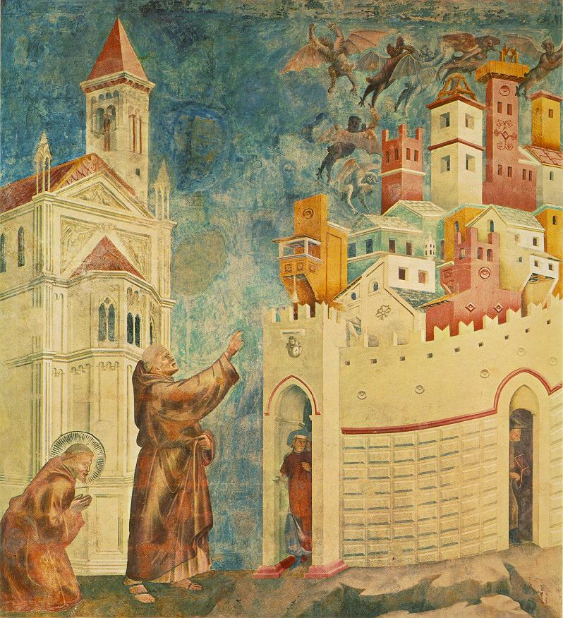 Afresco do artista italiano Giotto (1267-1337) na Basílica Superior de São Francisco em Assis. Representa a expulsão dos demônios da cidade de Arrezzo (Toscana). Do lado oposto à catedral gótica, os demônios fogem com o exorcismo feito por São Francisco de Assis