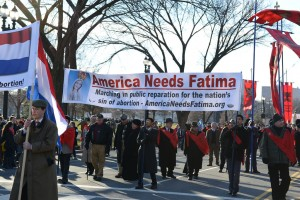 """""""America Needs Fatima large banner at the 2015 March for LIfe"""""""