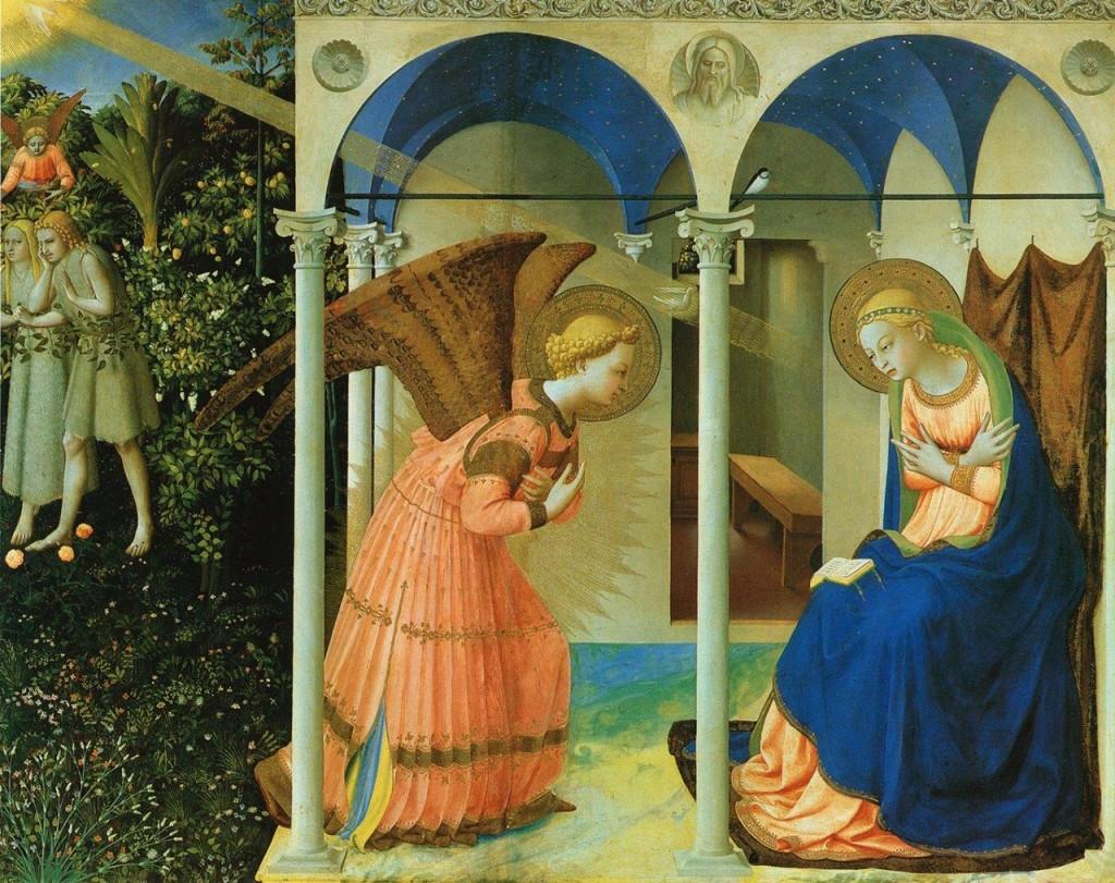 """""""Anunciação"""" -- Fra Angélico, séc. XV. Museu El Prado, Madrid (Espanha)"""