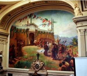 A fundação da cidade do Rio de Janeiro. Óleo sobre tela de Rodolpho Amoedo (1923), no plenário do Palácio Pedro Ernesto.