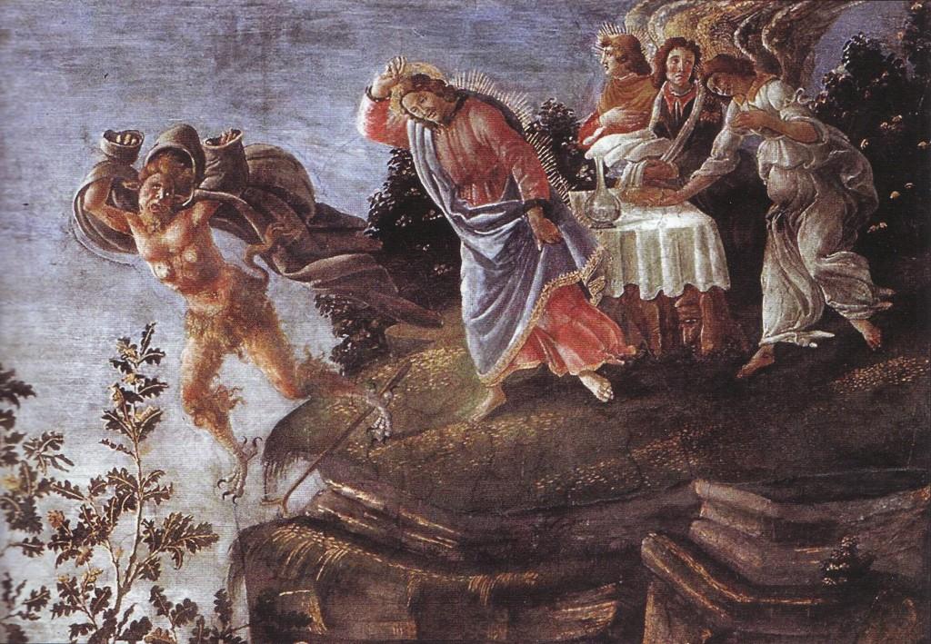 """""""A tentação de Cristo"""". Detalhe da pintura de Sandro Botticelli (1445-1510), na Capela Sistina (Vaticano)"""