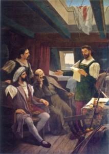 Pero Vaz de Caminha lê para o comandante Pedro Álvares Cabral,  Frei Henrique de Coimbra e o mestre João a carta destinada rei D. Manuel I