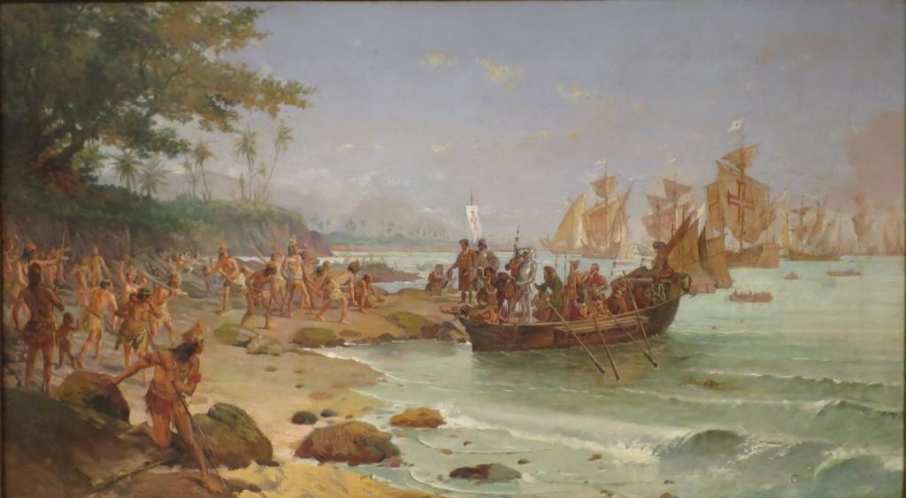 Desembarque de Cabral em Porto Seguro. Óleo sobre tela de Oscar Pereira da Silva (1904). Acervo do Museu Histórico Nacional (RJ)