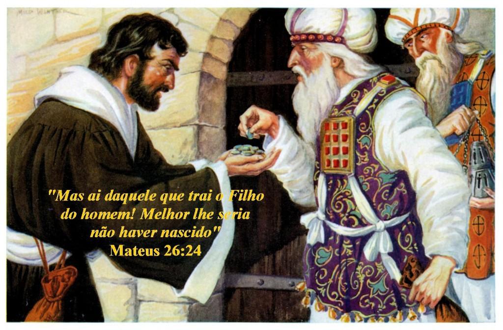 Não conseguindo incriminar Jesus, os sacerdotes contaram com a figura sinistra de Judas Iscariotes, um dos doze apóstolos, que nutria a pior das intenções em relação ao Mestre