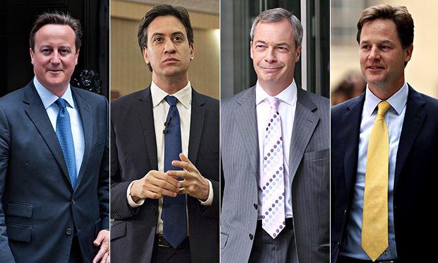 Cameron (o primeiro-ministro conservador, que obteve a vitória) Miliband, Farage e Clegg