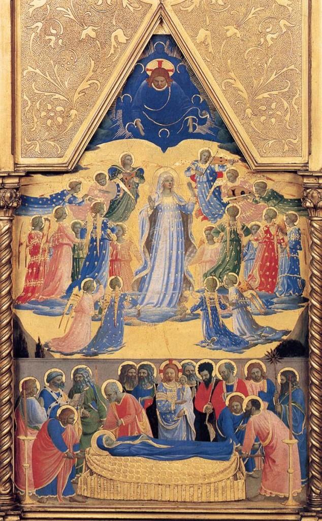 Assunção da Virgem Maria. Pintura de Fra Angelico (1395/1400-1455), exposta  no Isabella Stewart Gardner Museum.