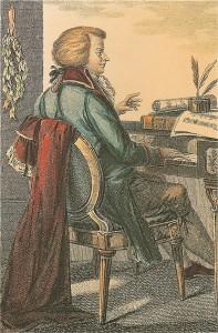 Wolfgang Amadeus Mozart nasceu em Salzburg em 27 de janeiro de 1756 e faleceu em Viena em 5 de dezembro de 1791. É um dos compositores mais conhecidos no mundo. (Gravura colorida, Giovanni Sasso, Paris, 1815).