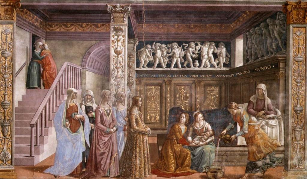 """Afresco """"Nascimento da Virgem"""" (entre 1486 e 1490), na Capela Tornabuoni da Igreja Santa Maria Novella (Florença). Obra o artista florentino Domenico Ghirlandaio (1449 – 1494)."""