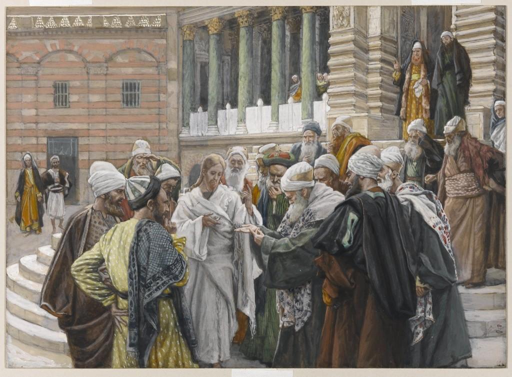 """""""O tributo a César"""", quadro de James Tissot. Os fariseus tentam colocar Jesus Cristo em contradição."""