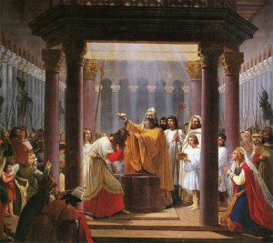 O Batismo de Clovis, Jean Alaux (1785-1864), museu de Belas-Artes de Reims (antiga abadia de Saint-Denis).