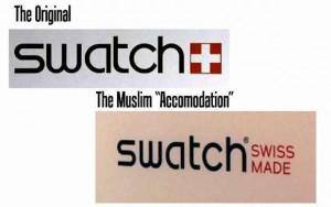 """Renomadas marcas como Swatch, Tissot e Victorinox passaram a oferecer linhas sem a cruz... para contentar o Islã. [Ilustrações do """"Observatório da Cristianofobia""""]"""