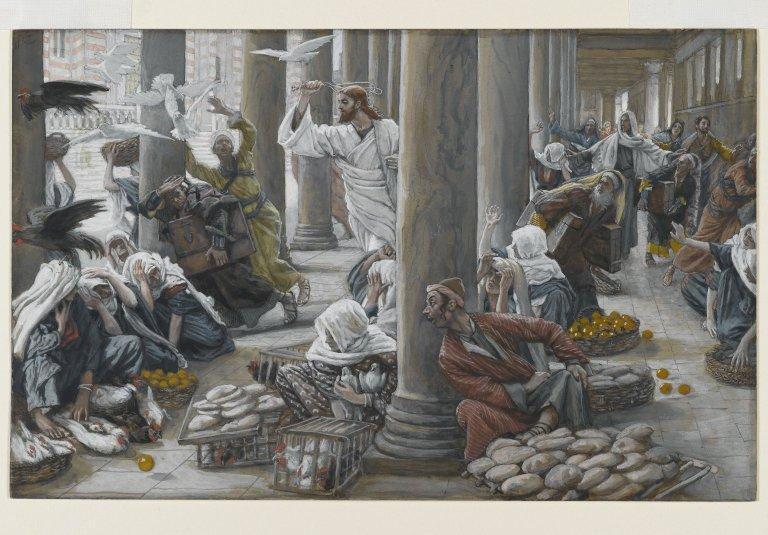 Nosso Senhor Jesus Cristo, com um látego na mão, expulsa os mercadores do Templo