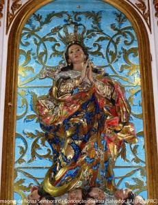 Imagem de Nossa Senhora da Conceição da Praia da Basílica do mesmo nome em Salvador (BA), trazida de Portugal pelo primeiro governador-geral do Brasil, Tomé de Souza.