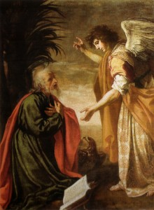 O apóstolo São João na ilha de Patmos, por Jacopo Vignali.