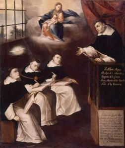 Santo Alberto Magno ensinando (Gregorio Vasquez de Arce y Ceballos, séc. XVII. Coleção Privada, Bogotá (Colômbia)