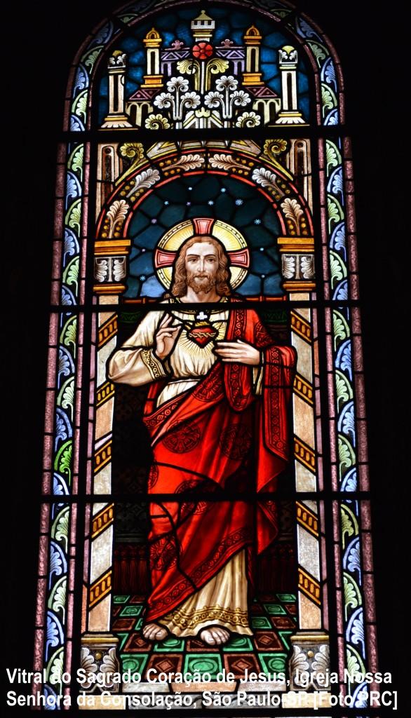 Vitral do Sagrado Coração de Jesus, Igreja Nossa Senhora da Consolação, São Paulo-SP [Foto PRC