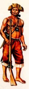 Índio militarizado, aliado dos portugueses contra invasores estrangeiros e selvagens revoltosos. Desenho segundo um códice do séc. XVIII existente no Museu Histórico Nacional (RJ).