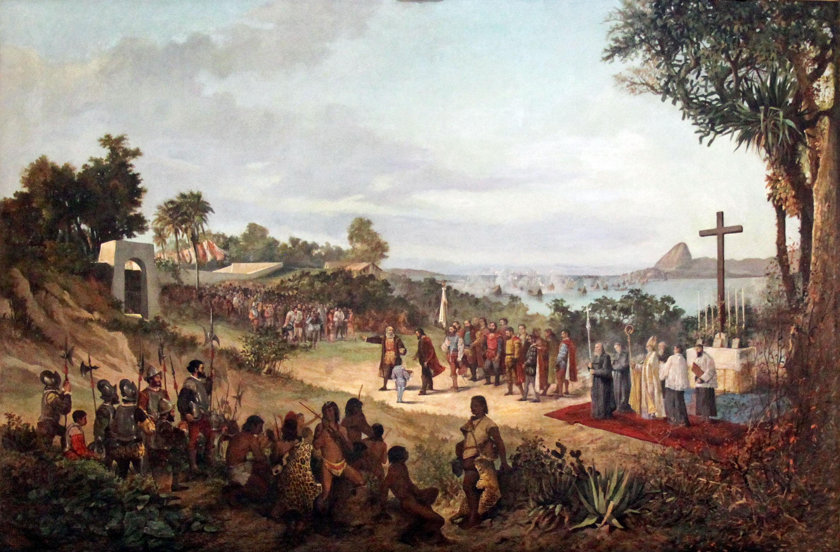 Fundação da Cidade do Rio de Janeiro. Mem de Sá entrega as chaves da cidade ao alcaide. Quadro de Antonio Firmino Monteiro (1855-1888).