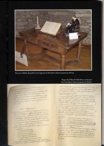 Mesa de trabalho do santo e regra para as religiosas Filhas da Sabedoria que ele redigiu