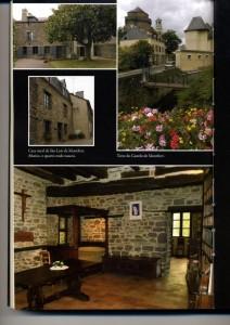 À esq. casa natal do santo; à dir. torre do castelo de Montfort e abaixo quarto onde ele nasceu