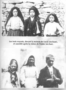 Os três pastorinhos, Lúcia, Francisco e Jacinta. No alto eles antes da visão que tiveram do Inferno. Na foto de baixo, eles logo após tal visão.