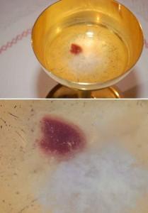 A hóstia que devia se dissolver começou a transudar sangue  e formar carne com aparência de humana (primeira foto). A outra foto é uma ampliação.