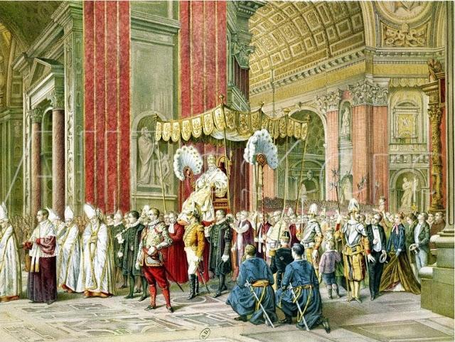 A condenação do conciliarismo foi reafirmada pelo V Concílio Lateranense, pelo Concílio de Trento e pelo Concílio Vaticano I. Na pintura, entrada solene do Bem-Aventurado Papa Pio IX na Basílica de São Pedro para a abertura do Concílio Vaticano I (8 de dezembro de 1869 a 18 de julho de 1870).