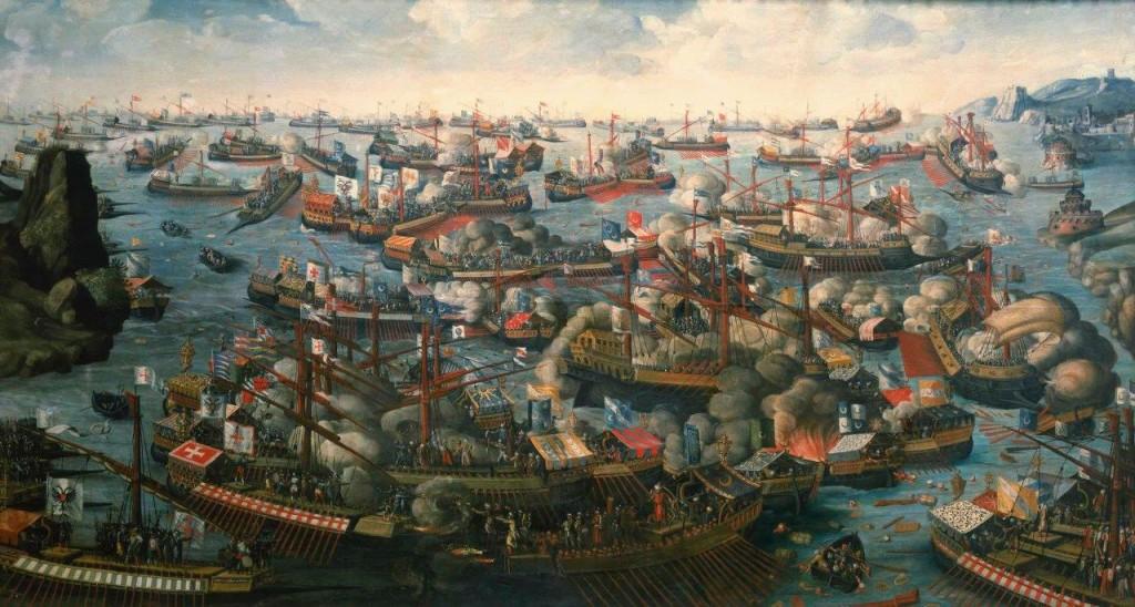 """Quadro """"A Batalha de Lepanto"""", transcorrida no dia 7 de outubro de 1571. A vitória da esquadra católica impediu a invasão maometana na Europa"""