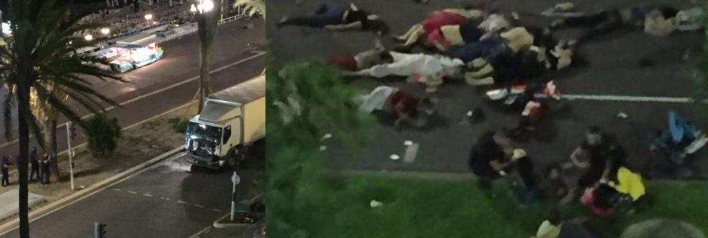 Corpos estraçalhados espalhados pelo chão no atentado do terrorismo islâmico em NIce