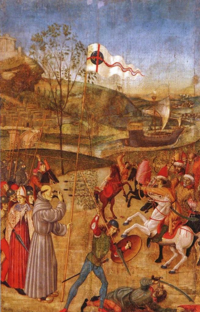 São João de Capistrano durante a batalha, portando um crucifixo, animava o exército católico. Com a vitória do exército católica se evitou a invasão das forças maometanas. 40 mil turcos foram mortos.