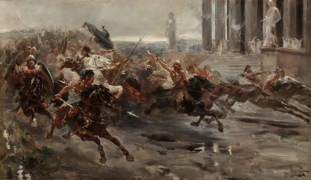 """Obra Ulpiano Checa, """"A conquista de Alarico"""". Os bárbaros invadem Roma."""
