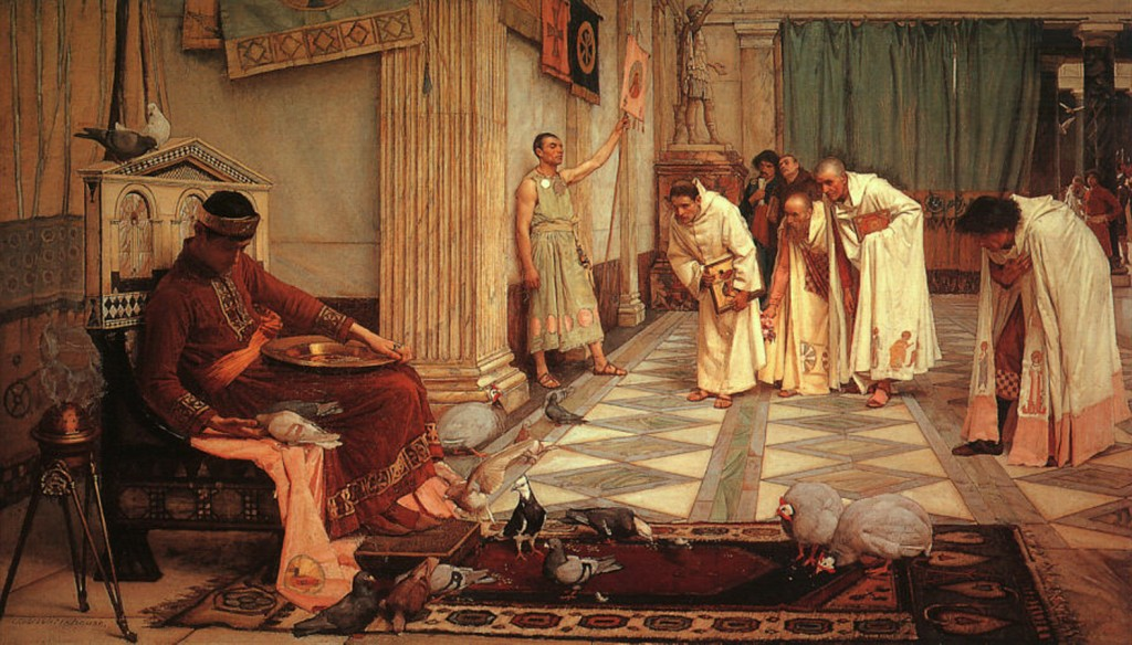 "Obra de John William Waterhouse, ""The Favorites of the Emperor Honorius"" (1883). Enquanto Roma era invadia o Imperador Honório cuidava de suas aves..."