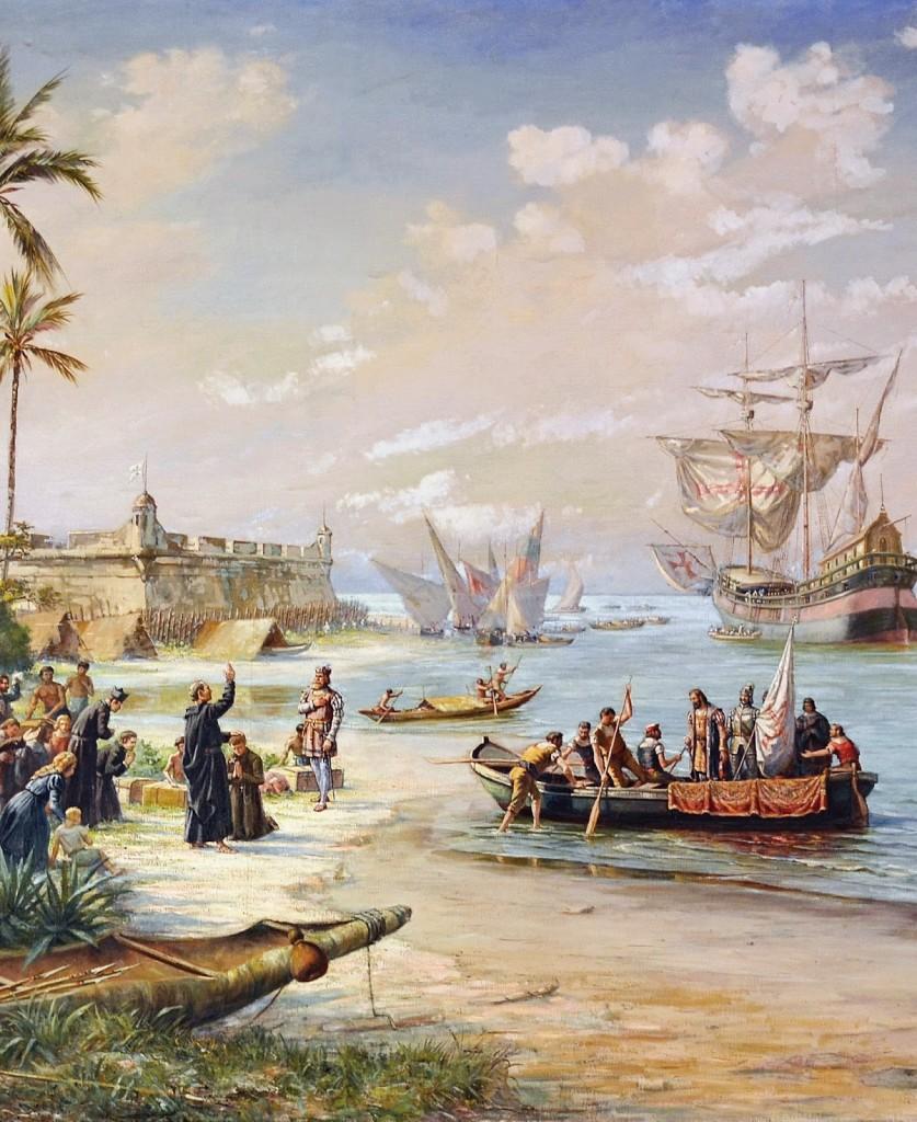 """""""Partida de Estácio de Sá"""" (Benedito Calixto, 1853-1927) mostrando o padre Manuel da Nóbrega abençoando a esquadra que combaterá os franceses calvinistas na baía de Guanabara."""