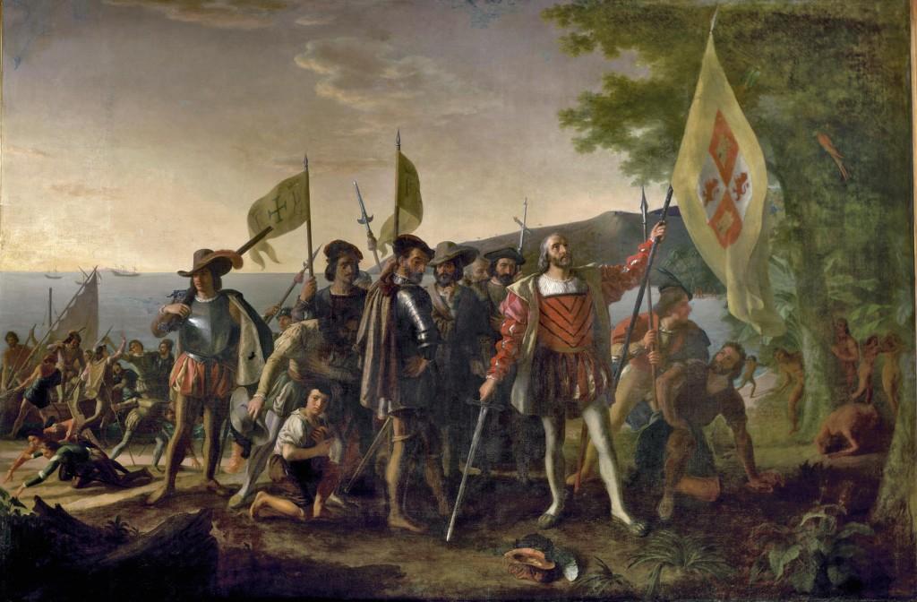 Pintura de John Vanderlyn representa o desembarque da armada de  Cristóvão Colombo em 12 de outubro de 1492