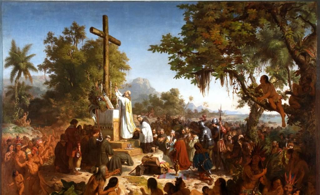 A Primeira Missa No Brasil, celebrada pelo franciscano  Frei Henrique de Coimbra, no dia 26 de abril de 1500, na praia da Coroa Vermelha, Porto Seguro (Bahia). Óleo de Victor Meirelles, Museu Nacional (RJ).