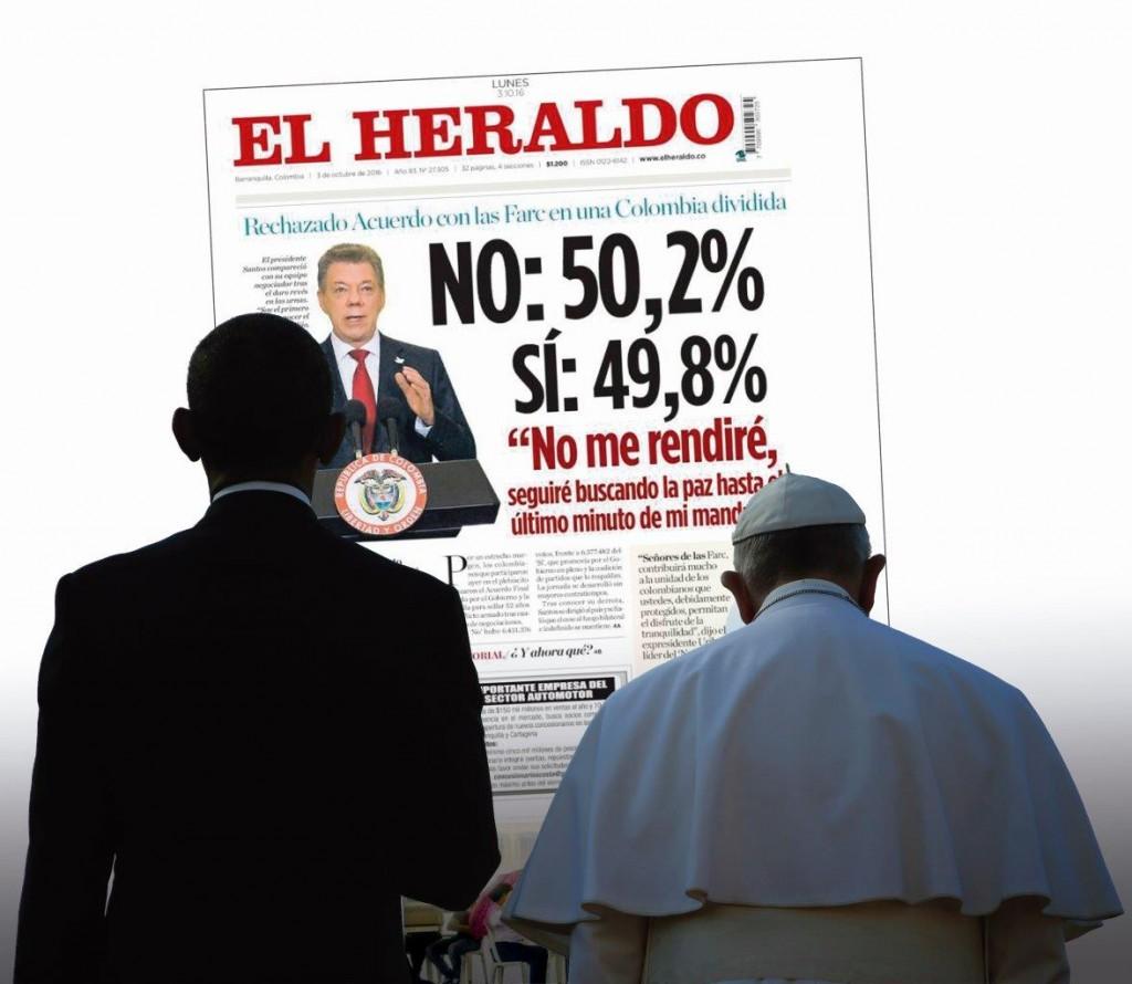 """As várias interferências do Papa Francisco e do presidente Obama no """"processo de paz"""" produziram profundo mal-estar em amplos setores da opinião pública colombiana."""