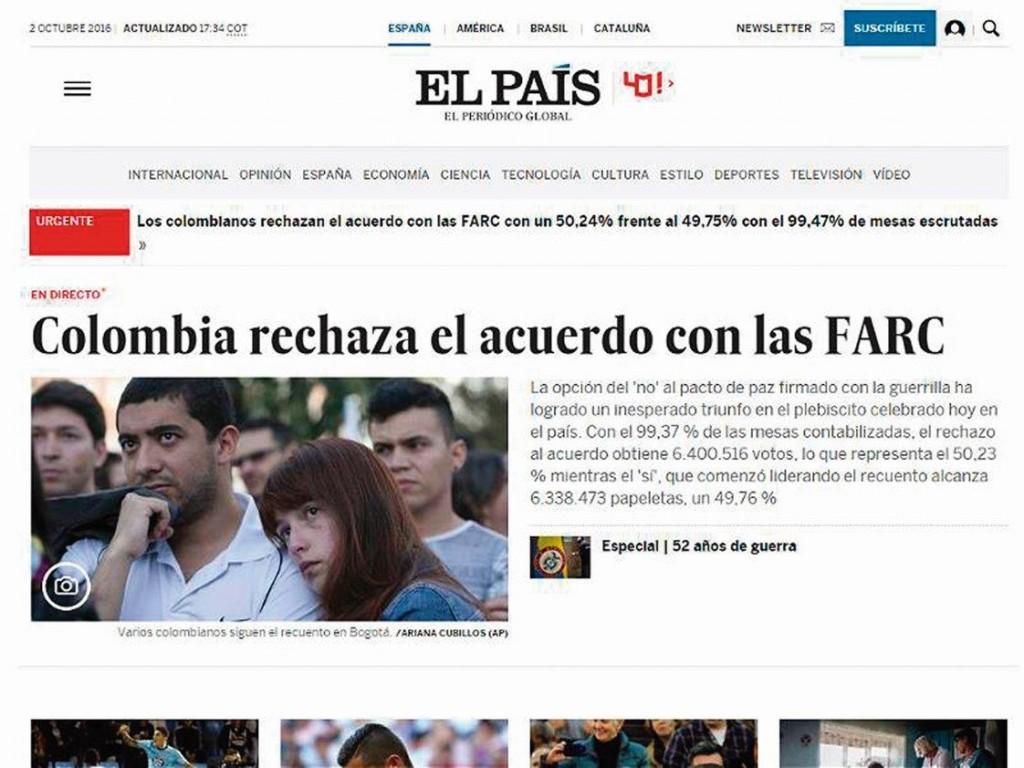 """Assim noticiou """"El País"""", de Espanha, o resultado do plebiscito colombiano"""