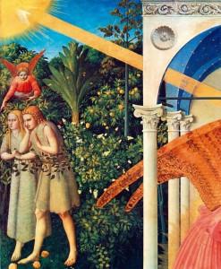 Paraíso. Detalhe do quadro da Anunciação pintado por Fra Angélico e que se encontra no Museu do Prado, Madrid