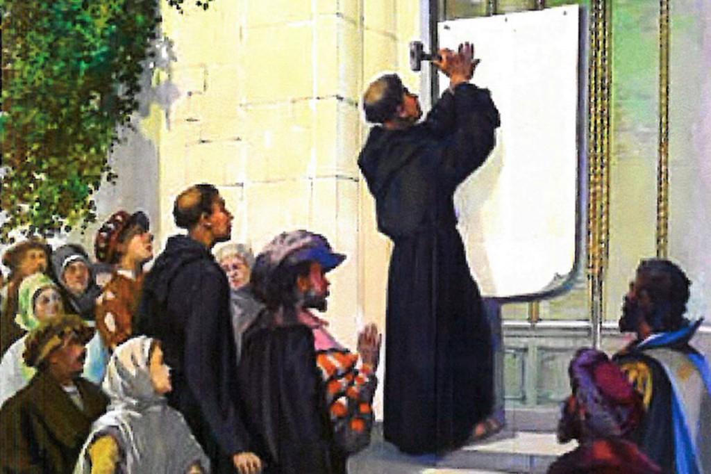"""Gravura representando Lutero, em 31 de outubro de 1517, pregando na porta da igreja do castelo de Wittenberg suas """"95 Teses"""" contra o Papado e os ensinamentos da Igreja Católica"""